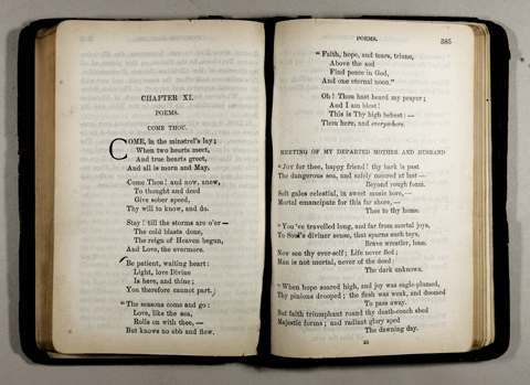 "Miss Bartlett's copy of Miscellaneous Writings, given to her by Mrs. Eddy, who had marked the fourth verse of her poem ""Come Thou"" for Julia's comfort on the passing of her brother. Longyear Museum collection"