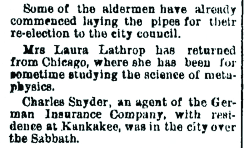 newspaper clipping about Laura Lathrop