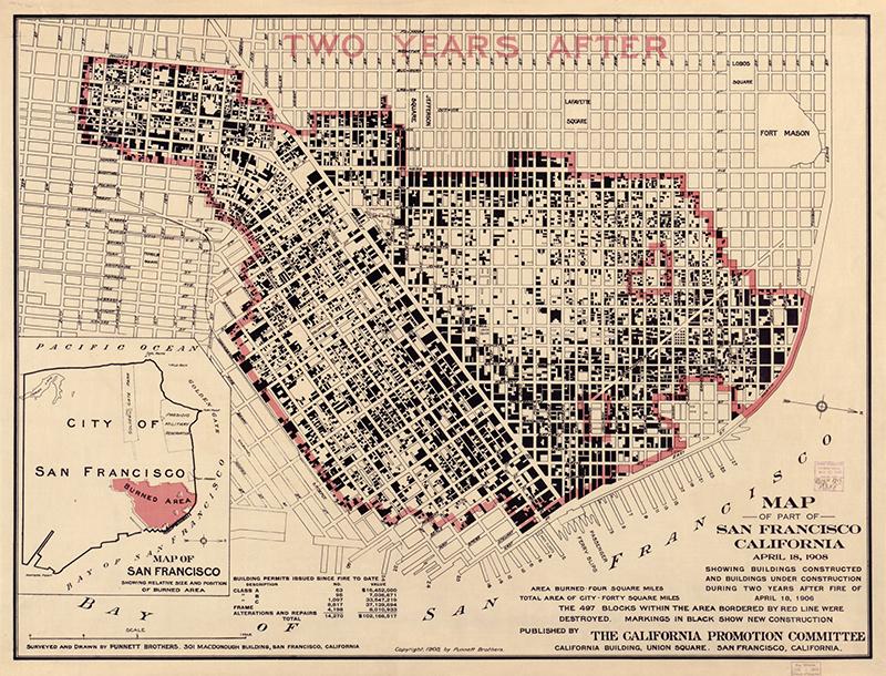 1906 Earthquake Map.San Francisco Earthquake 1906 Longyear Museum